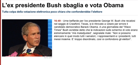 Screenshot notizia bufala bush tgcom24