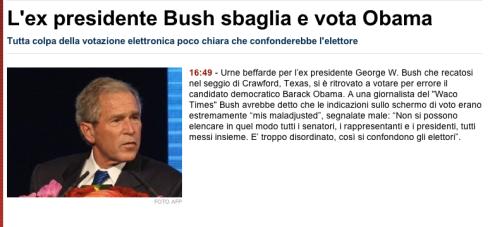 Screenshot notizia bufala bush tgcom24
